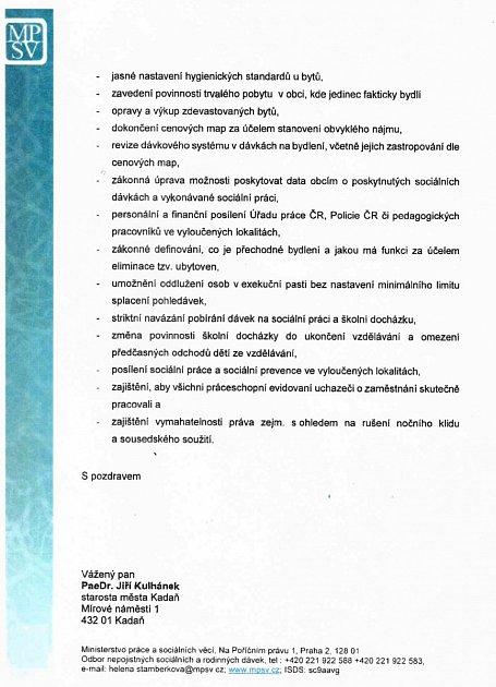 Dopis zministerstva starostovi Kadaně