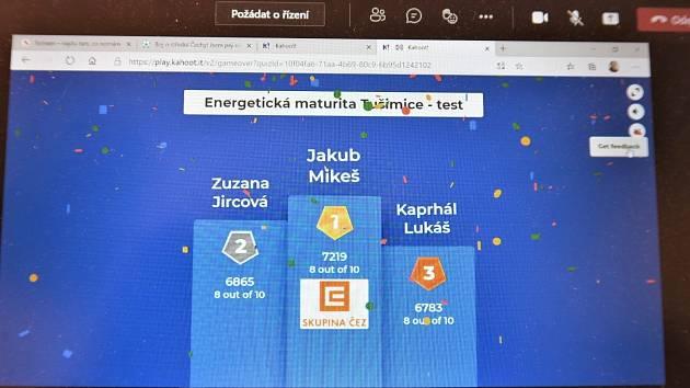 Mezi nejlepšími první virtuální energetické maturity byl také Lukáš Kaprhál z Chomutova.
