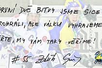 Vlastnoručně napsaný a podepsaný vzkaz fanouškům od kapitána Zdeňka Skořepy. Speciálně pro Chomutovský deník.
