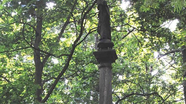 Přesto, že socha Panny Marie Immaculaty na Červeném hrádku stojí na podstavci, přes vysoké stromy není moc vidět.