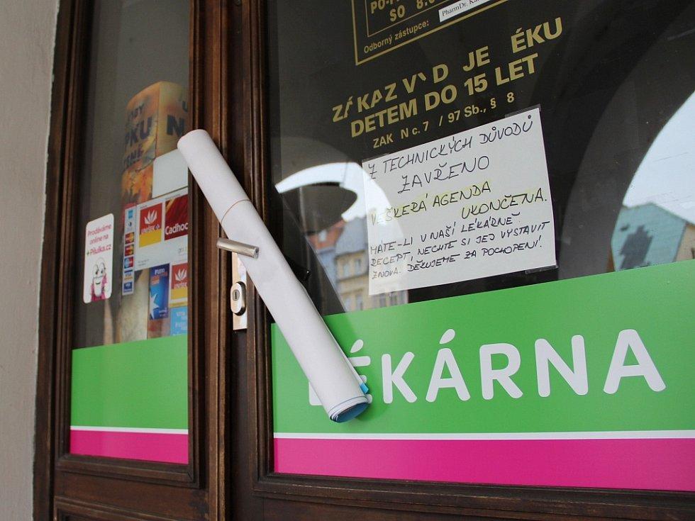 Dveře chomutovské lékárny už zůstaly zavřené.