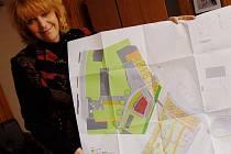"""SOUMĚSTÍ.Na snímku ukazuje starostka Jitka Gavdunová projekt společného """"souměstí"""". Ve spodní části plánu je česká strana a vrchní tmavší je německá."""