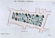 Plán zatravnění Mírového náměstí v Kadani z roku 1910