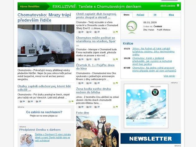 Webové stránky Chomutovského deníku.