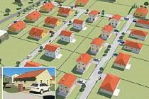 BUDOUCÍ DOMY. Počítačová podoba lokality s vystavěnými domy u Nezabylic. Na malém snímku počítačový model jednoho z domů.