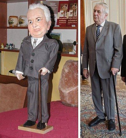 Na snímku vlevo šedesáticentimetrová figurka Miloše Zemana, kterou vyrobila Miluše Hájková, vpravo prezident České republiky na reálné fotografii.