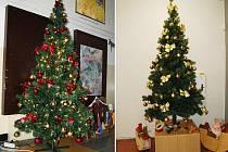 TAK TO JE ON. Stromek za dvanáct tisíc, který všichni dostali, aniž by ho někdo chtěl. Ten vpravo stojí v chomutovském muzeu,  v gymnáziu (vlevo) má mašle červené.