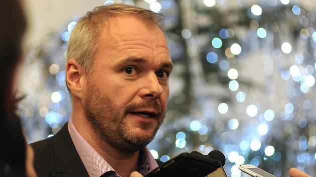 NOVÝ PRIMÁTOR Marek Hrabáč při rozhovoru s novináři.