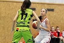 Mladší žákyně (v bílém) prohrály na Basketu Praha 64:90