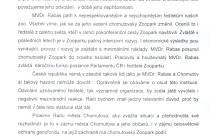 Dopis, který napsal na podporu Přemysla Rabase prezident Unie českých a slovenských zoologických zahrad.