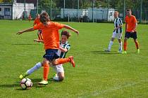 Luxa (v oranžovém) útočí v utkání proti Střešovicím
