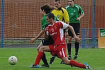 Spartak Chodov - FC Chomutov. Po prvním poločase byl stav vyrovnaný 0:0.