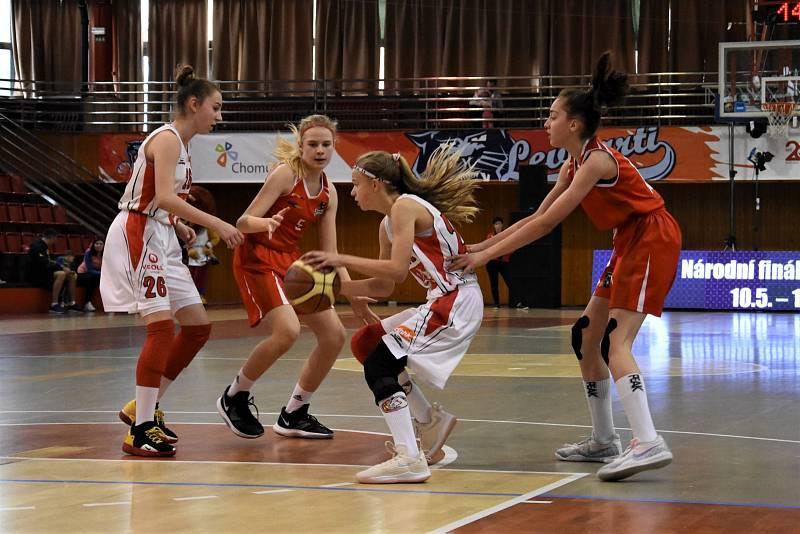 Národní finále starších minižákyň U13 v Chomutově. Domácí Levhartice mají červené dresy.