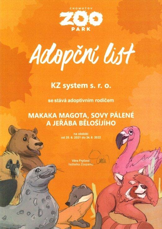 KZ systém je adoptivním rodičem tří zvířat ze zooparku.