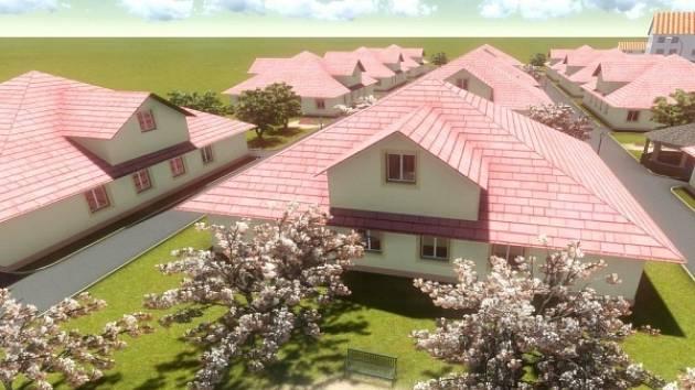 VIZUALIZACE. Domovy měly stát už minulý rok na podzim, později se termín posunul na letošní jaro a teď to vypadá na leden 2015. Podle starosty se ale už staví a nic nebrání tomu, aby se na počátku příštího roku nastěhovali první zájemci.