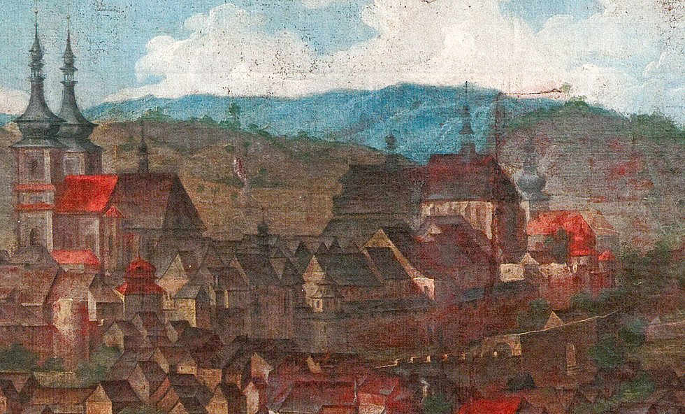 Kostel svatého archanděla Michaela na vedutě z první poloviny 18 století (vpravo).