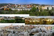 Koláž z panoramatických fotografií Kadaně ve čtyřech ročních obdobích.