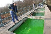 ZELENÁ JE DOBRÁ, ukáže případné průsaky akvaduktu. Rybám ani lidem neublíží.