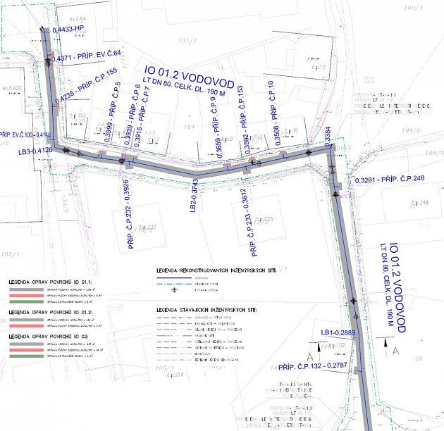 Mapa plánovaných oprav vodovodu vRadonicích