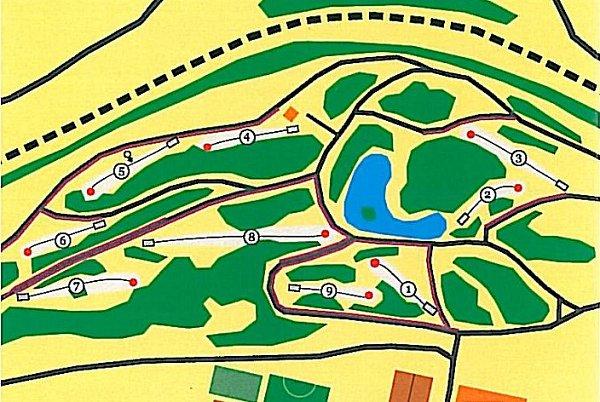 Mapa diskgolfového hřiště vKadani.