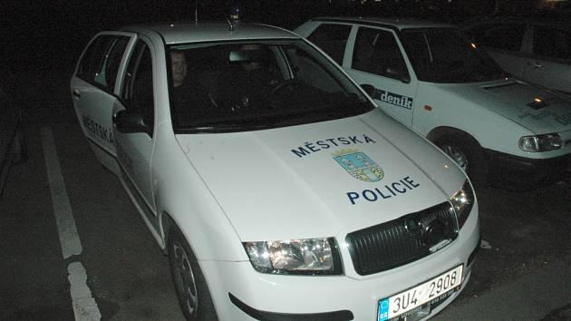 Chomutovští městští strážníci ve vozidle, ve kterém hlídkují.