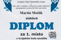Diplom Martina Motlíka z krajské přehlídky SOČ.