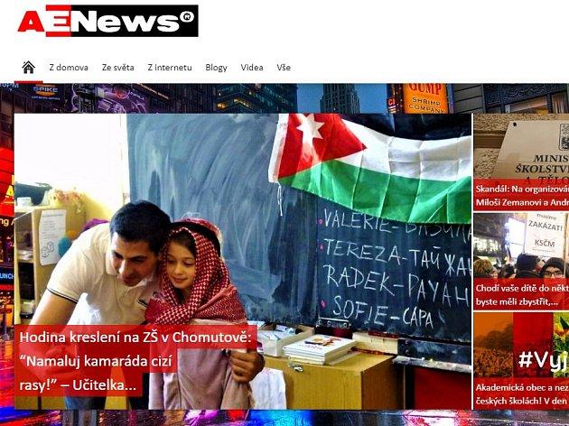 Část hlavní strany webu Aeronet.cz, kde je kvidění ičlánek ochomutovské škole