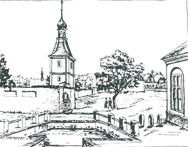 Kostel sv. Volfganga a hřbitovní zeď při pohledu od dnešní nové budovy soudu.