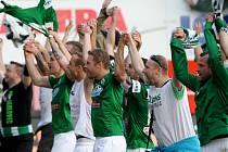 Radost fotbalistů Baumitu Jablonec po vyhraném semifinále