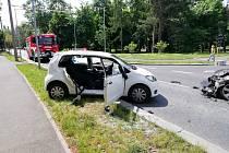 Nehoda v Čelakovského ulici v Chomutově.