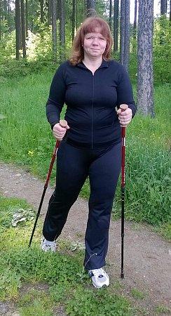 Paní Romana při trekkingu.