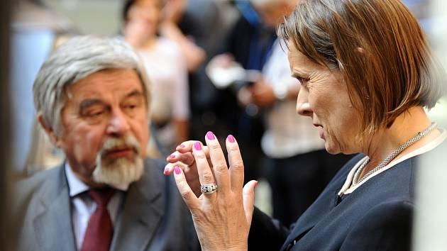 Alena Vitásková s advokátem Josefem Lžičařem u soudu.