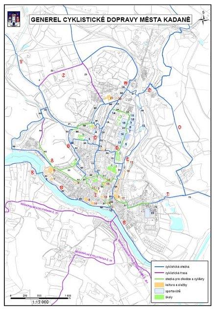 Přehledná mapa plánované sítě cykostezek v Kadani a okolí.