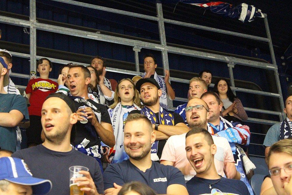 Fanoušci na hokeji Kladno - Hradec Králové v chomutovské hale.