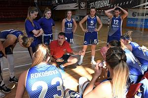 Chomutovské basketbalistky v týmové poradě s trenérem.
