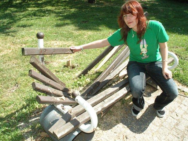 Takhle vypadá lavička v parku po pádu stromu.