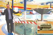 """""""SELHALA TECHNIKA,"""" může jen zklamaně krčit rameny Jan Dufek, vedoucí aquacentra. Všechno má na svědomí řídící jednotka (na malém snímku) na regulaci teploty vody. Porouchala se v úterý, Kultura a sport už objednala novou."""