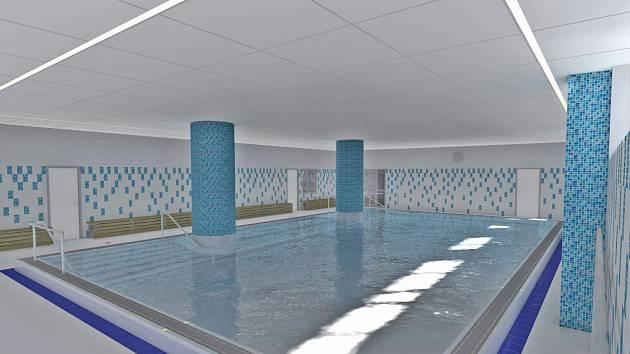 Vizualizace nového bazénu v ZŠ Hornická Chomutov.