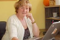 Karin Štefanová při on-line rozhovoru v redakci Chomutovského deníku.