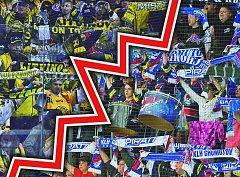 ČERNOŽLUTÍ VERSUS MODROBÍLÍ. V pátek se očekává vyprodaný stadion a souboj nejen na ledě, ale i v hledišti.