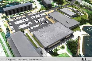 Vizualizace obchodního centra Evropa. Silnice I/13 vpravo nahoře.
