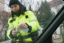 Strážnice chomutovské městské policie kontroluje špatně zaparkované auto.