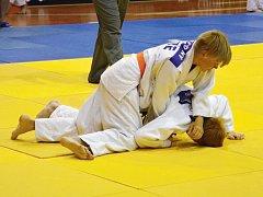 Na snímku nahoře chomutovský Jakub Novotný v zápase o postup do bojů o medaile.