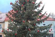 Vánoční stromek na kláštereckém náměstí.