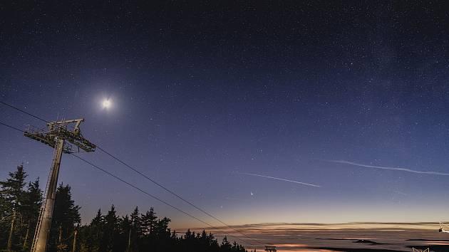 Hvězdné konjunkce Saturnu a Jupitera na Klínovci,  19.12.2020.