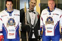 MARTIN DEJDAR (vlevo), zakladatel myšlenky exhibičního hokejového týmu, přiveze do Chomutova v sestavě také zajímavé osobnosti, například Dominika Haška (uprostřed) či Mirka Topolánka (vpravo).