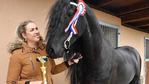 Wickey van Dupaumolen je šampion hřebců. Na snímku se svou majitelkou Denisou Budákovou.