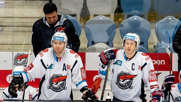 Chomutovští hokejisté při posledním zápase play out.