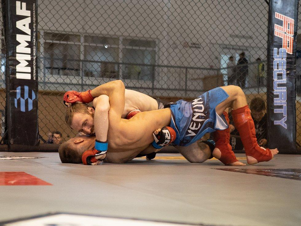 Na padesát bojovníků se utkalo v zápasech v oktagonu, v kleci pro bojovníky MMA, které pořádá z Chomutovský klub.