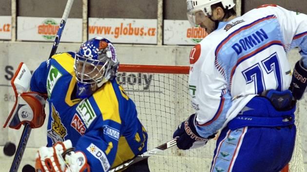 Chomutovští hokejisté versus ústečtí lvi.